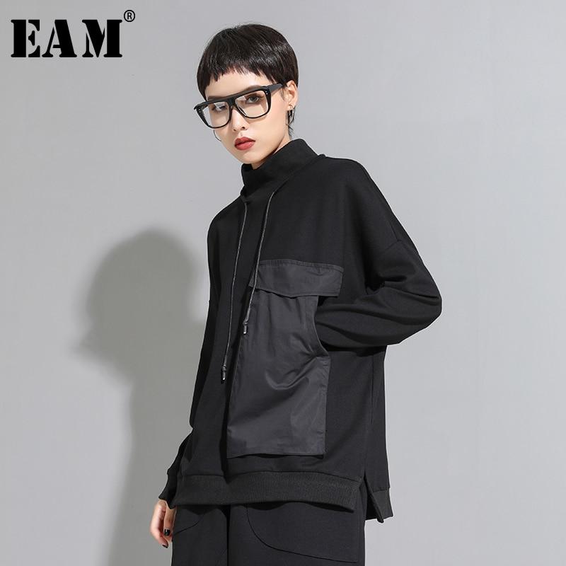 [EAM] Women Big Pocket Contrast Color Split Big Size T-shirt New High Collar Long Sleeve  Fashion Tide  Spring Autumn 2020 1D095