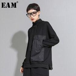 [EAM] Women Big Pocket Contrast Color Split Big Size T-shirt New High Collar Long Sleeve  Fashion Tide  Spring Autumn 2021 1D095