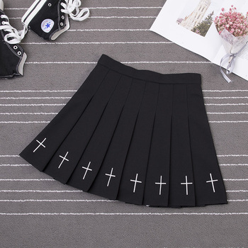 Women Harajuku Sweet Fresh Feeling High Waist Pleated Skirt Elastic Waist Cross Embroidery Skirt Pleated Skirt