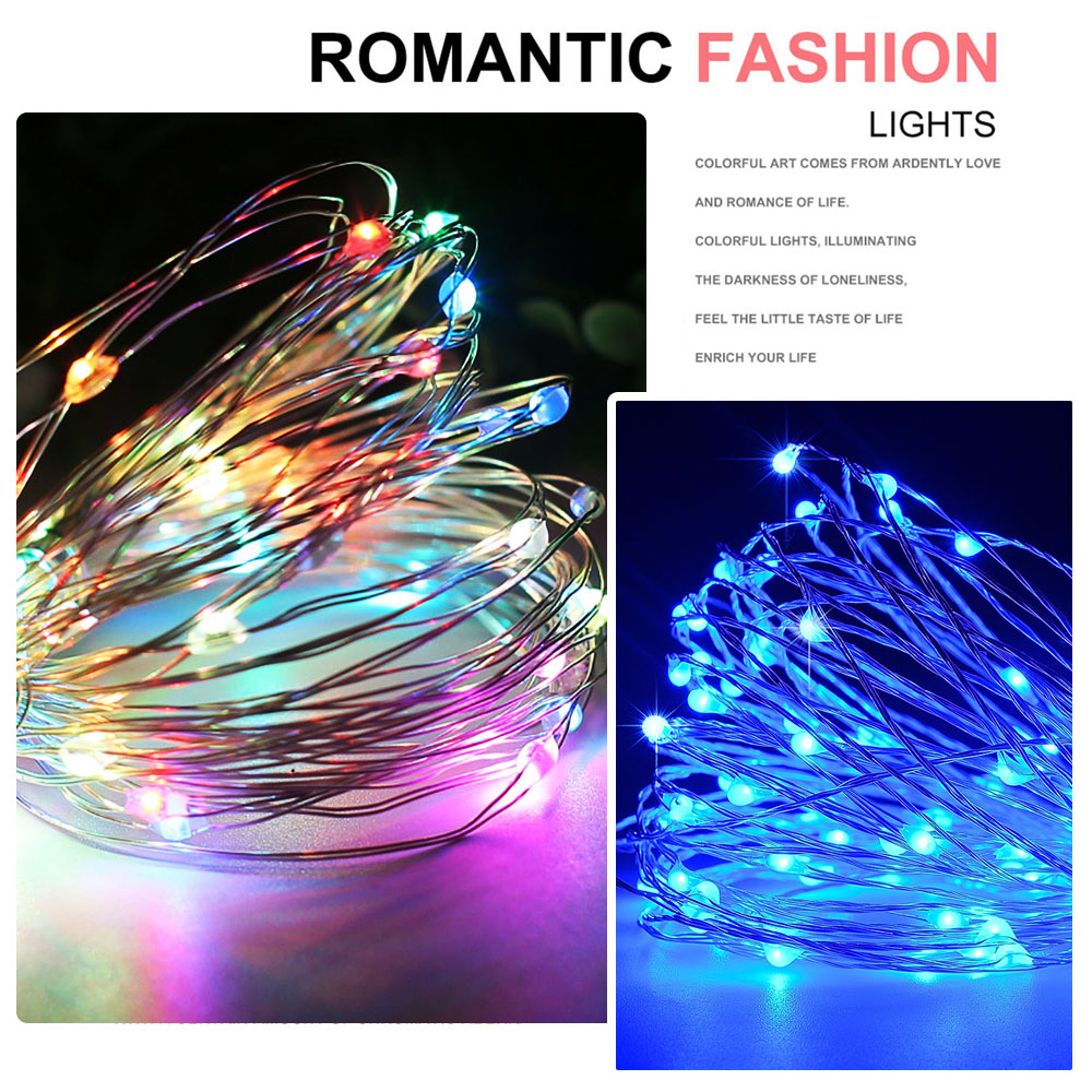 Silver Wire 2M 3M 5M 10M Outdoor LED String Lights Holiday New Year Fairy Garland For Christmas Tree Wedding Party Decoration