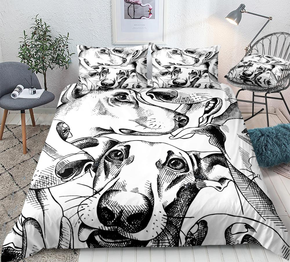 Dogs Duvet Cover Set Black And White Dogs Bedding Kids Boys Girls Animal Quilt Cover Queen Home Textiles 3pcs King Dropship