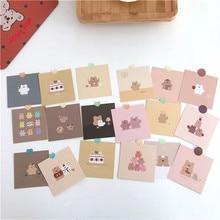 9 Uds. Dibujos coreanos bonitos de oso de fresa, decoración pequeña, tarjetas de felicitación, manual, pegatina de pared de habitación, accesorios de fotografía, papelería