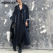 [MENKAY]Loose Denim Long Sleeve Trench Coat Women Side Split Button Down Ladies