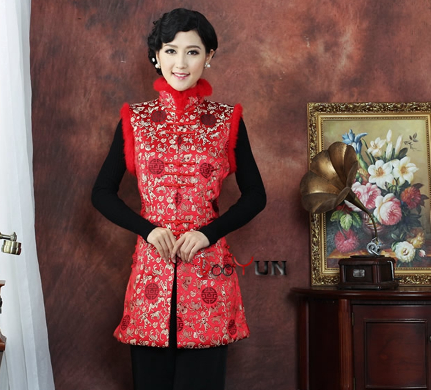 winter rabbit fur collar middle aged mother Chinese style red improved ladie daily national Tang suit Sleeveless jacket vest