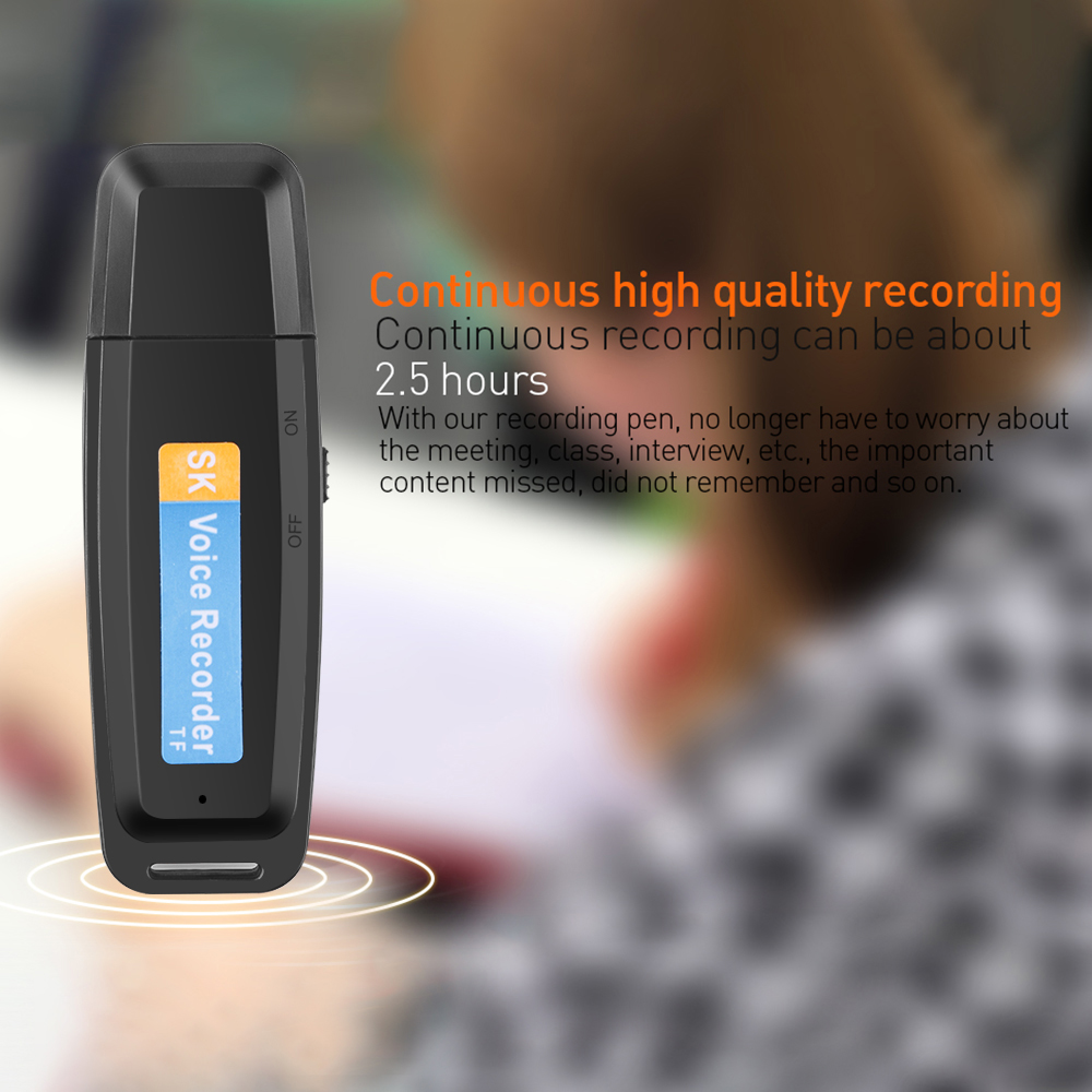 A Key Recording U-Disk Digital Audio Recorder TF Flash Card USB Voice Recorder Pen Mini Dictaphone Professional Up to 32GB