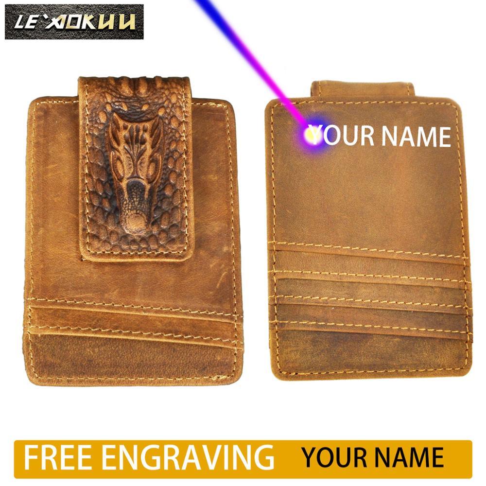Cartera para hombre de cuero genuino de diseñador de moda de viaje de regalo de bolsillo pinza de dinero magnética minifunda para tarjeta monedero para hombre 1058-cl