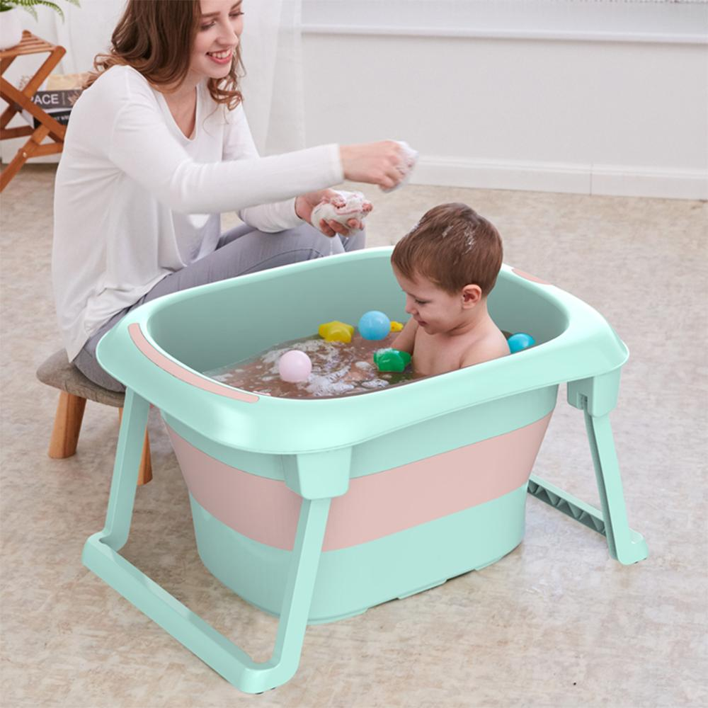 3-in-1 Baby Bath Tub Portable Toddler Collapsible Bathtub Folding Infant Shower Basin Anti Slip Skid Proof for 0-10 Years