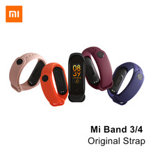 Original Xiaomi Mi Band 4 Wrist Strap TPU Black Orange Pink Blue Wine-red Bracelet for Xiaomi Miband 3 4 NFC Smart Wristband(China)