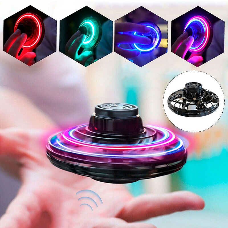 LED Athletic Antistress Hand Mini Flying Toy Gyro Rotator Drone UFO Finger Spinner Rotary Gift For Child Adult Family Relex Gift