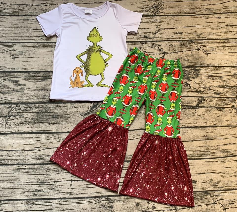 New Arrival Evil Cartoon Outfits Baby Girls White T Shirt+flare Green Red Pants 2 Pcs Kid Boutique Children's Clothing Suit Gxj
