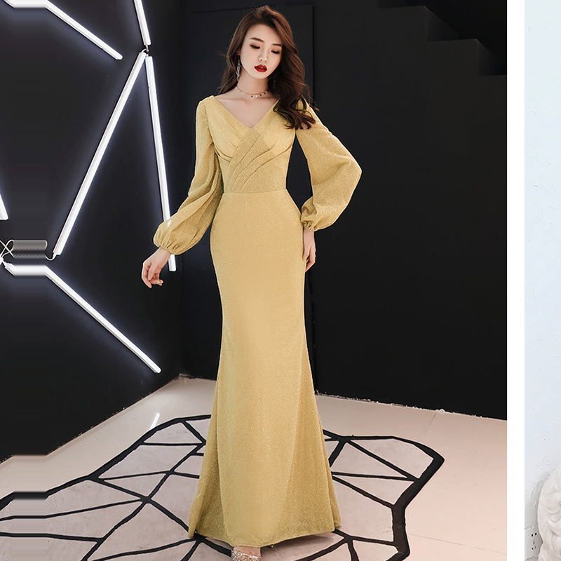 Evening Dress  V-neck Floor Pleat Length Robe De Soiree 2019 Sequin Elegant Women Party Dresses Full Sleeve Evening Gowns F197