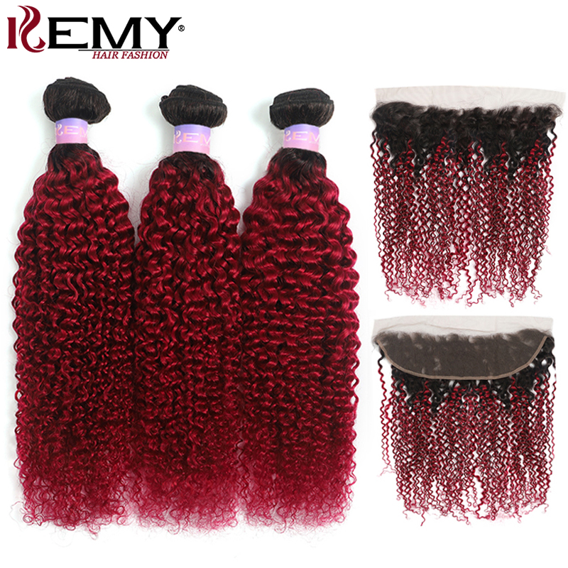 T1B/99J Burgundy Kinky Curly Bundles With Frontal 13x4 Brazilian Ombre Color Human Hair Bundles With Closure Non-Remy KEMY HAIR