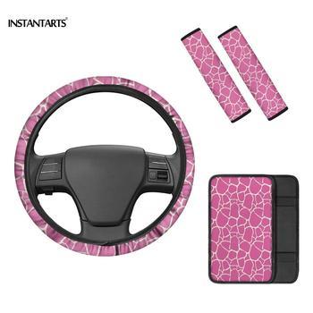 Accesorios de coche instantets Pink Zebra Skin Pringting para damas cubiertas de cinturón de seguridad Femenino 4 Uds moda divertida se adapta a la mayoría de los coches
