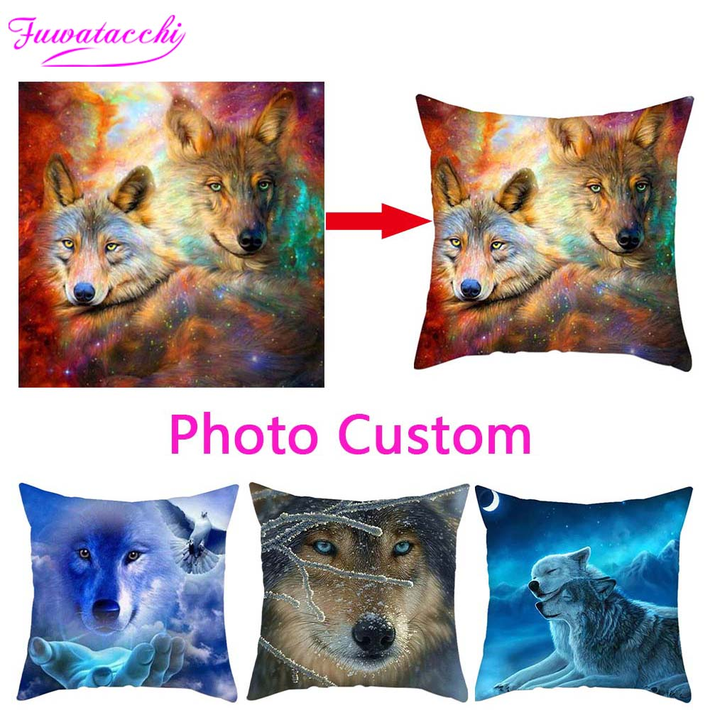 Fuwatacchi Cushion Cover Print Customize Gift Throw Pillowcase  Double Sided Optional Print Personal Photos For Pillow Covers