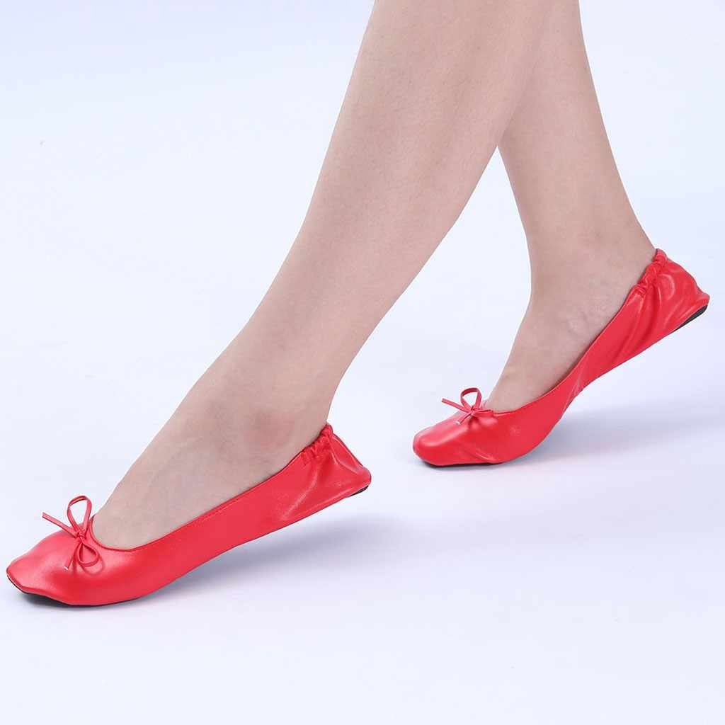Chinelos de viagem portátil dobrável ballet plana rolo chinelo sapatos de dança sapatos de festa de couro artificial casual faculdade #11