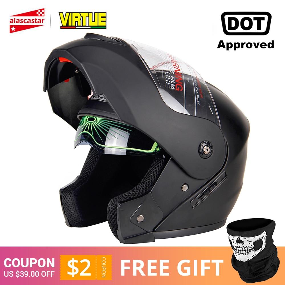 2019 New Flip Up Motorcycle Helmet Motorbike Modular Dual Lens Motocross Moto Helmet Crash Full Face Helmets Casco Moto Casque#