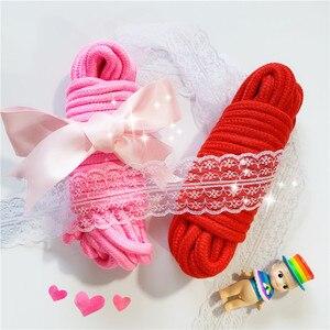 Image 4 - 弓でピンクと赤のソフトツイストロープエロバンドル綿ボンデージ Long10M 緊縛イメージプレイセックス玩具キット大人のセックスゲーム製品