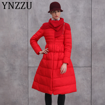 New Arrival Elegant Spring Winter Women Down Coats Parka Warm Fur Collar Extra Long Skirt Down Jackets Female Outwear AO027