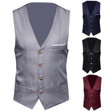 S-6XL, мужской деловой костюм, жилет, формальные жилеты, мужской однотонный приталенный костюм, жилет на одной пуговице, жилеты, мужской костюм, жилет