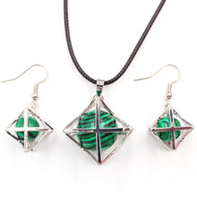 FYJS Unique Silver Plated Merkaba Star Point Pendant Necklace Drop Earrings Malachite Stone Jewelry Sets