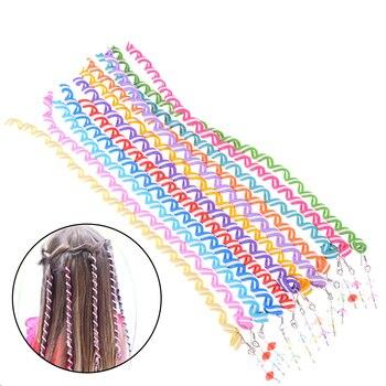 Fashion 1pc Rainbow Color Hair Accessories Synthetic Spiral Curls DIY Tools Children Girls Headwear Twist Braiders