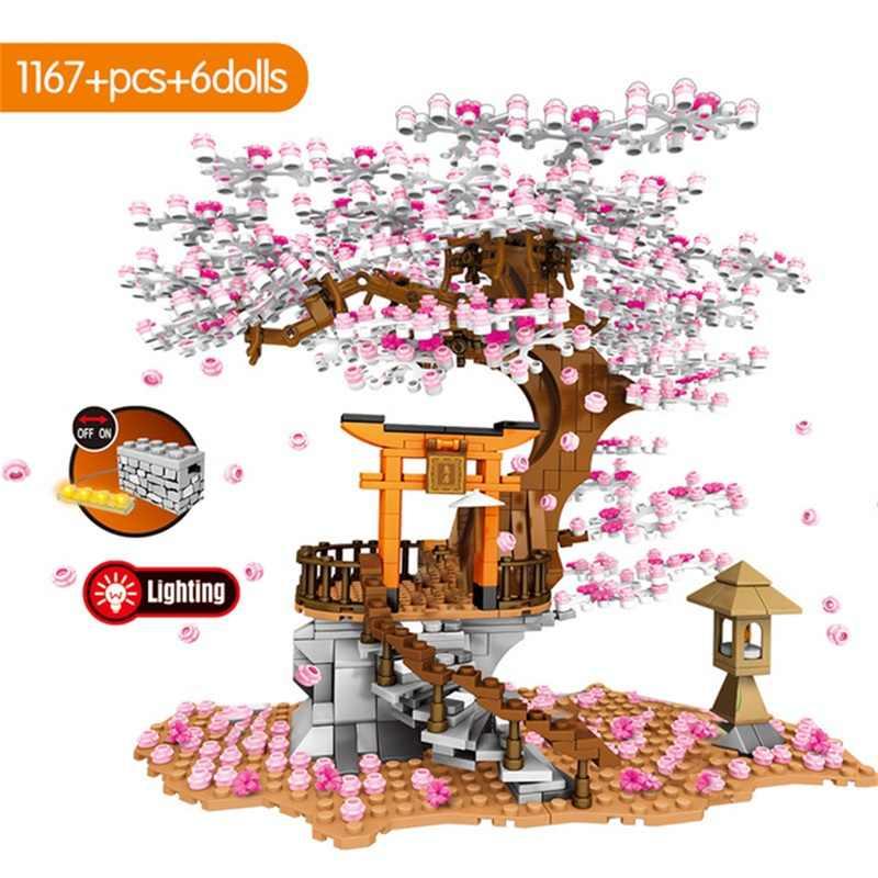 Bloques de construcción del modelo de flor de cerezo, Casa con vista de la ciudad, flor de la tradición japonesa, bloques educativos de arquitectura, juguetes para niños