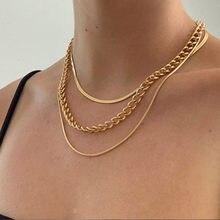 LETAPI Punk Miami collana girocollo cubana Colar Hip Hop grande spessa catena robusta moda collana serpente Color oro gioielli da donna