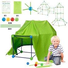 Construction Fort Building Block Kit DIY Multicolor 3D Castles Tunnels Tents Toy Set for Children Girls Boys Build Your Own Den