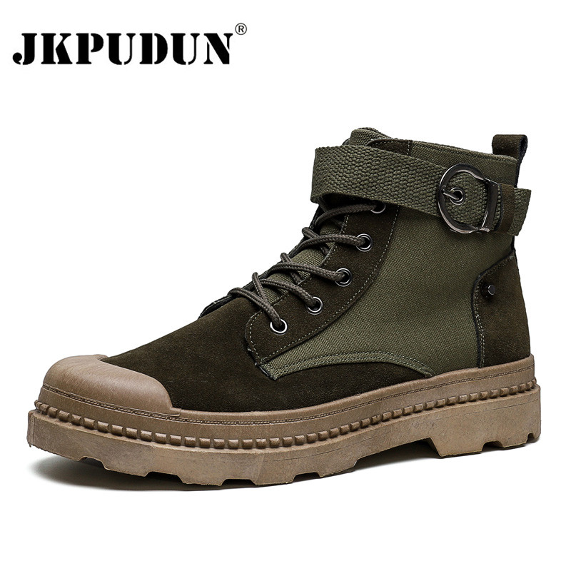 Stylish Mens High Top Ankle Boots Round Toe Western Cowboy MIlitary Combat Shoes