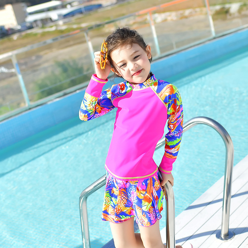 2018 New Style Hot Sales Split Skirt Bathing Suit Long Sleeve Boxer Stand Collar Small Qing Xin Wen Quan Sun-resistant Girls KID