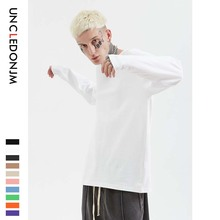 UNCLEDONJM Kanye West Streetwear Casual Full Sleeve T Shirts 19SS Men Women Urban High Street Hip hop Solid Cotton T-Shirt 561W