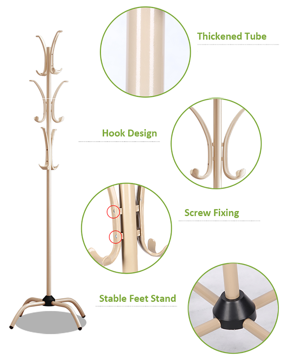Coat Rack Clothes Tree Coatrack Hat Hanger Hallstand Clothes Hat Tree Rack Free Standing With 6 Hooks 4 Feet Base For Bedroom