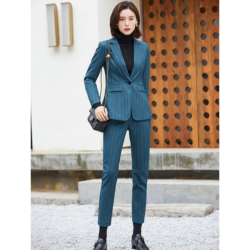 Women High Quality Stripe Blazer Suit for office ladies 2 pieces Set