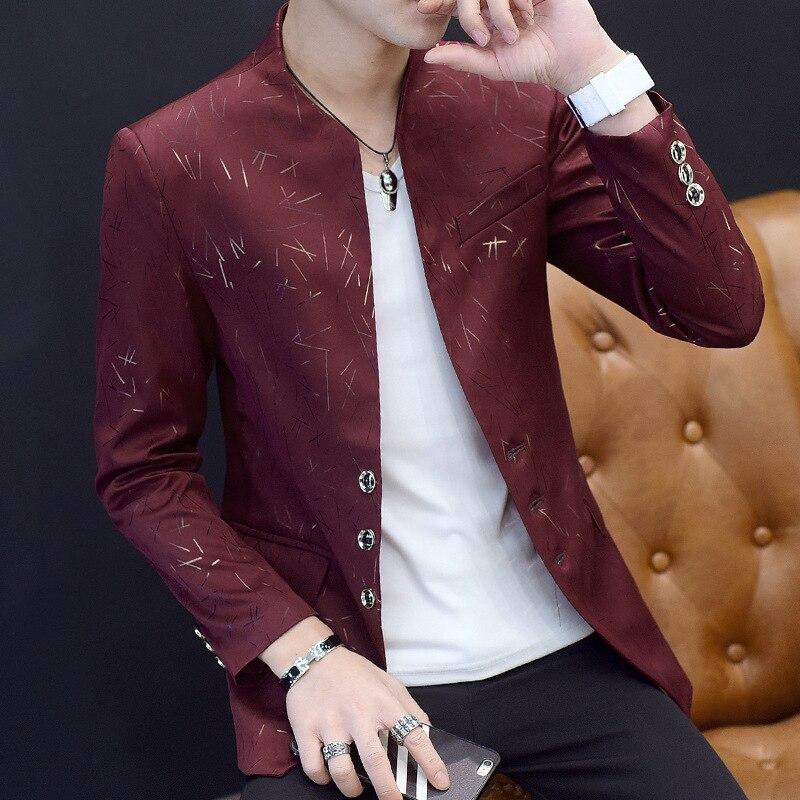 Suit New Style Men Slim Fit Bronze Suit Fashion Youth Stand Collar Coat Sun Yat-sen Costume