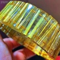 Natural Gold Rutilated Quartz Titanium Bracelet 24.2x8.5x6mm Woman Man Brazil Clear Rectangle Beads Bangle Wealthy AAAAAA 2
