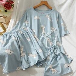 HELIAR-Conjunto de pijama para mujer, ropa de dormir de algodón, camisetas cortas y bolsa de tela, traje de 3 piezas, conjuntos cómodos para niña
