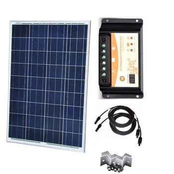 Kit Solar Panel   12v 100w  Solar Charge Controller 12v/24v 10A PWM Z Mount Bracket Pv Cable Motorhomes Caravan Car Camping LED