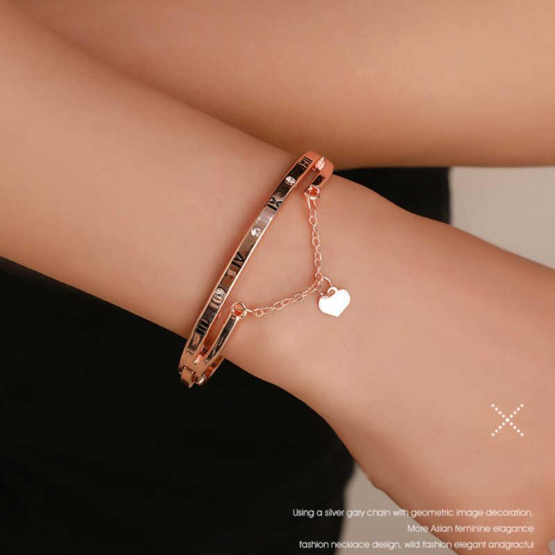 Hot Luxe Rose Goud Rvs Armbanden Armbanden Vrouwelijke Hart Bruiloft Liefde Brand Charm Armband voor Vrouwen Beroemde Sieraden