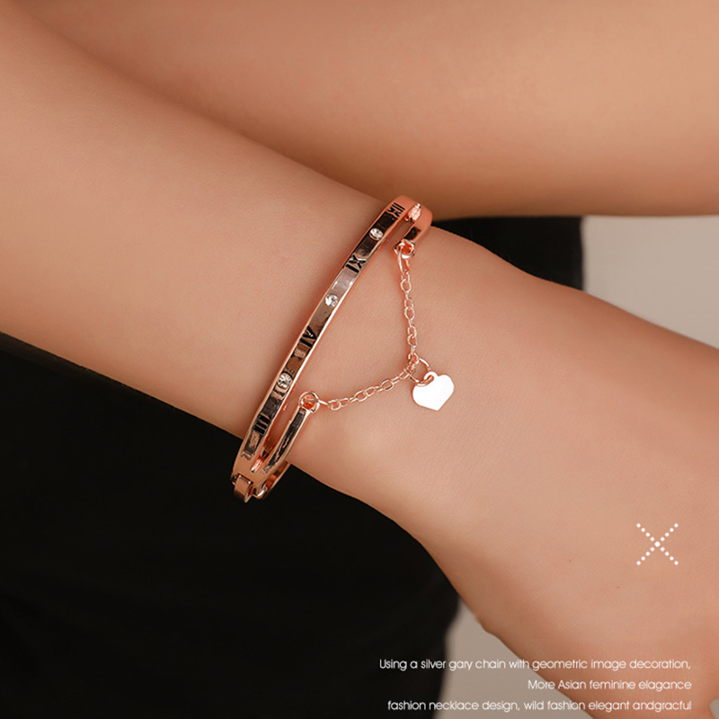 Hot Luxury Rose Gold Stainless Steel Bracelets Bangles Female Heart Wedding Love Brand Charm Bracelet for Women Famous Jewelry 4