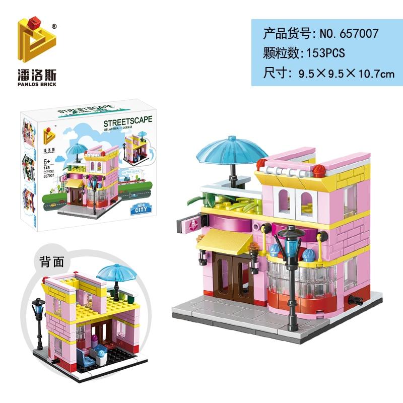 Mini Lego City Street View Block Retail Store Restaurant DIY Building Blocks Compatible lego technic Tech Building kids Toys - Цвет: 657007