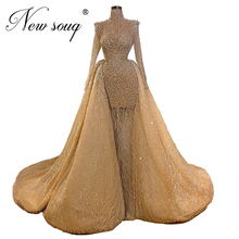 Glitter champanhe vestidos de baile noite destacável saia 2020 novo personalizado marroquino kaftans miçangas turco dubai vestidos de festa feminino