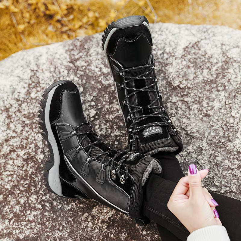 ERNESTNM נשים מגפי חם חם חורף קטיפה אמצע עגל עמיד למים גבירותיי נעלי שחור בתוספת גודל עור מפוצל מגפי נשים Botas mujer
