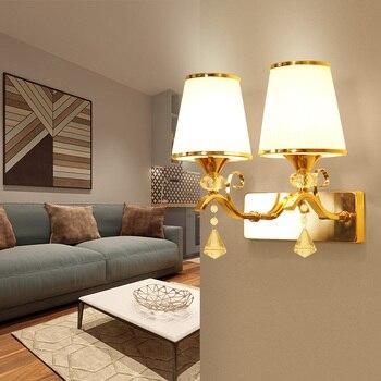Double head bedroom living room hotel wall lamp crystal glass bedside wall lamp modern staircase corridor aisle lamp LB120611