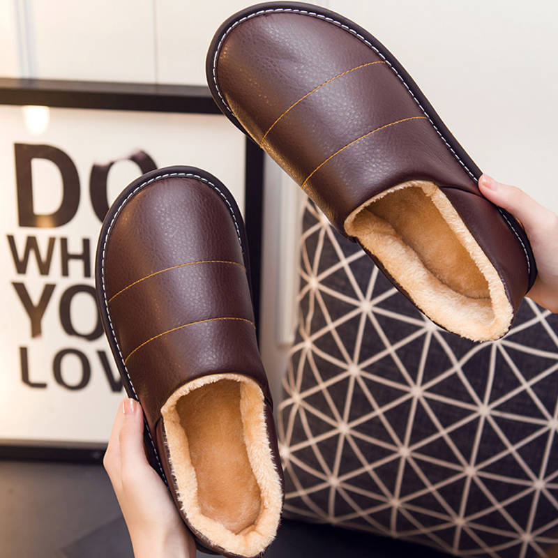 Leather Slippers Men Winter Warm Shoes Sweing Unisex Home Slippers Male Plush Indoor Slipper 2019 Fashion