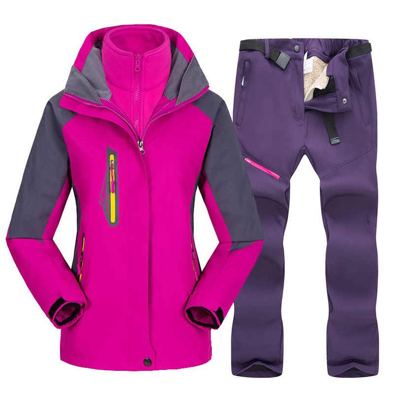 -30 Derajat Musim Dingin Ski Suit Wanita Hangat Salju Ski Jaket Set Olahraga Luar Ruangan Tahan Air Windproof Ski Snowboard Jaket Dan celana