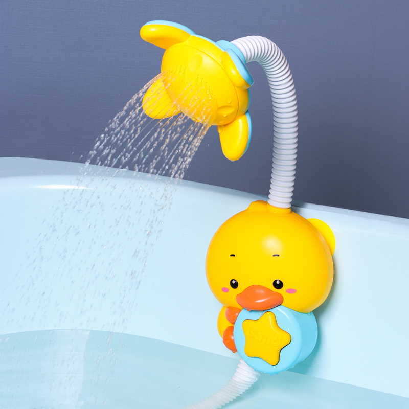 QWZ New Bath Toys Baby Water Game Duck Model Faucet Shower Electric Water Spray Swimming Bathroom Baby Toys For Kids Gifts