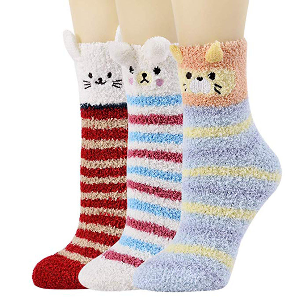 Fuzzy Soft Slipper Socks 3 Pair