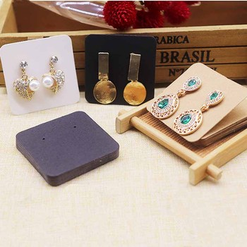 50pcs 5x5cm (1.97x1.97'')Kraft /Black /White Earring Card dOt Earring Display Card Holder Blank Kraft Paper Tags for DIY Ear image