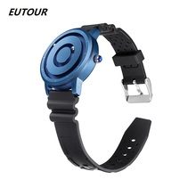 EUTOUR צבעוני שעון איש מגנטי כדור להראות קוורץ שעוני יד סיליקון בד פלדת רצועת אופנה סיבתי זכר שעון כחול זהב