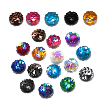 50Pcs 8mm Fish Scale Cabochons Flat Back Mermaid Resin Cabochon For Diy Jewelry Making Finding Supplies Accessories Bracelets